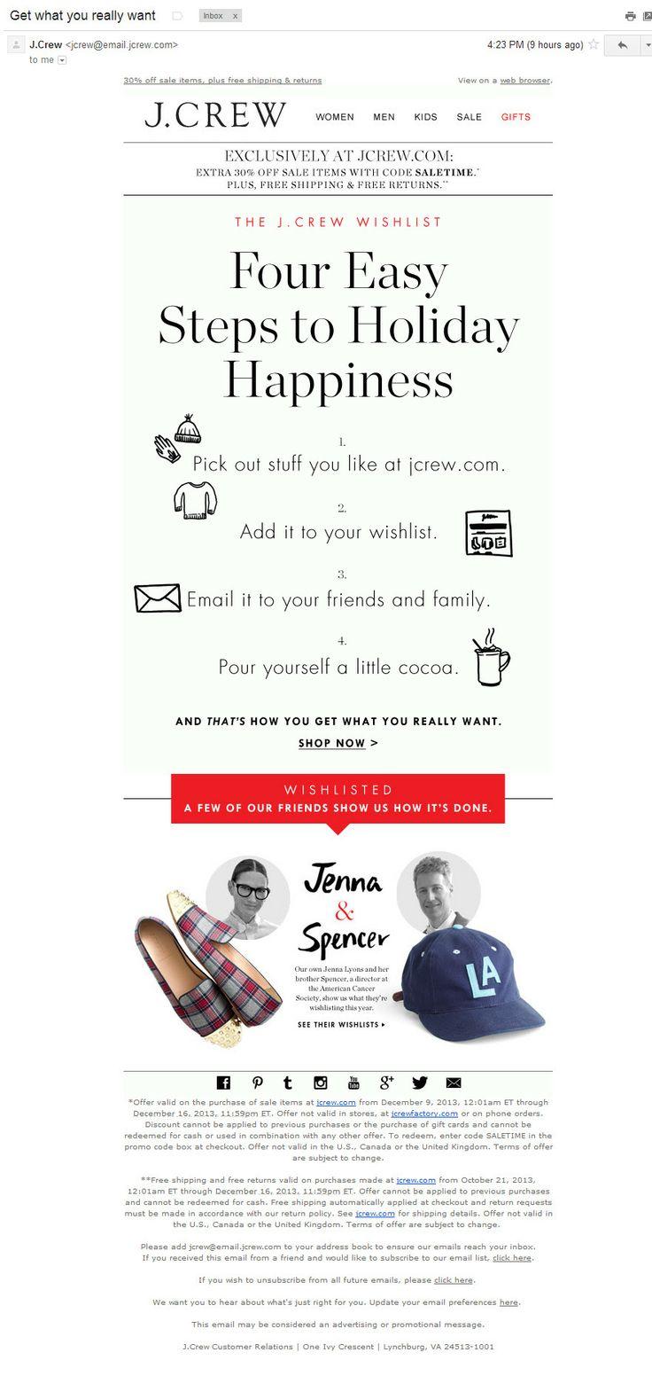 J.Crew: реклама вишлиста (11/12/13). Письмо посвящено вопросу получения подарков, а не их закупки, что в предпраздничный период само по себе необычно и привлекает внимание. Инструкция очень удачная: рукотворная, с юмором, с примером.