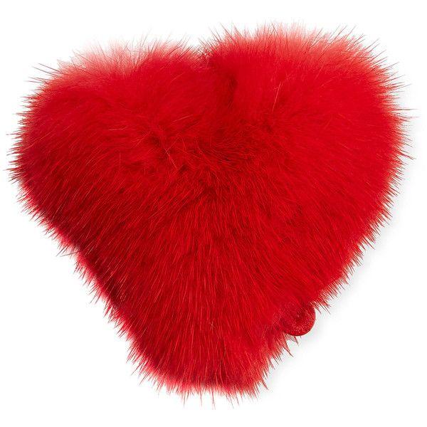 Anya Hindmarch Heart Mink Sticker for Handbag featuring polyvore women's fashion bags handbags handbags bag charms red anya hindmarch purse anya hindmarch anya hindmarch bags anya hindmarch handbags