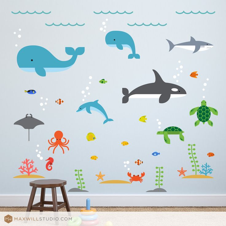 This playful Under the Sea wall decal set will make a perfect addition to any kids room, play room or nursery wall. Beautifully clean and modern designs will brighten any childs room and light up their imagination.  The sea animal wall decal set includes:  2 Whales 1 Orca 1 Dolphin 1 Shark 1 Octopus 1 Manta Ray 2 Sea Turtles 1 Crab 1 Seahorse 1 Starfish 2 Clams 2 Corals 11 Fish 3 Sand Patches 2 Rocks 3 Seaweeds  This decal set is printed on adhesive fabric (not vinyl) that is removable…