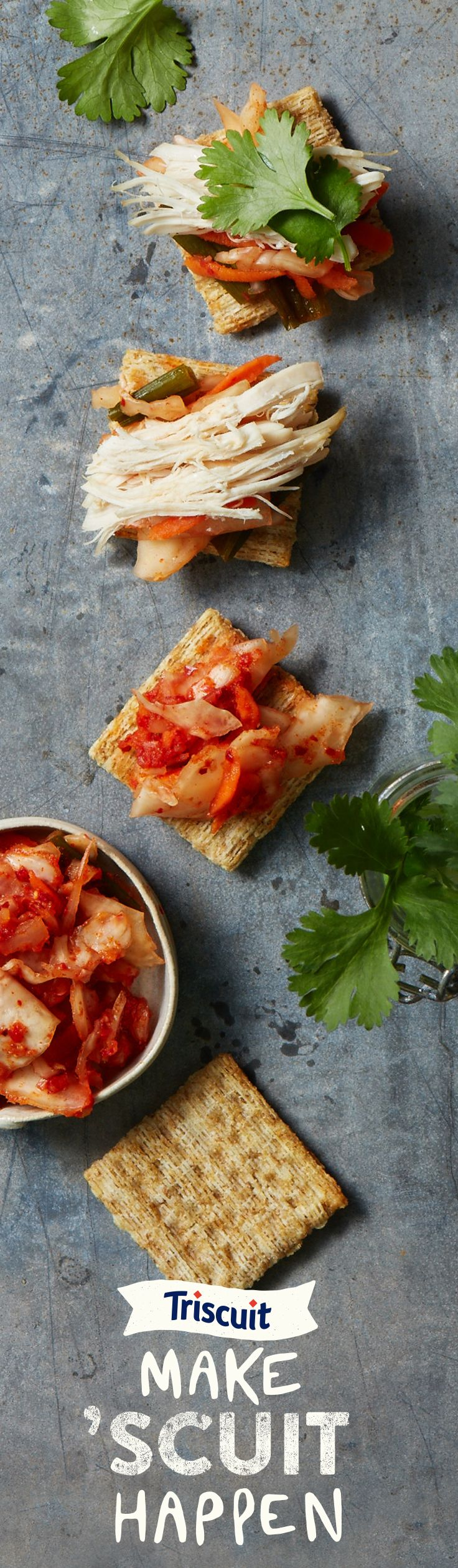 Make 'Scuit Happen with kimchi, cilantro and chicken. You're only limited by your appetite with TRISCUIT crackers.