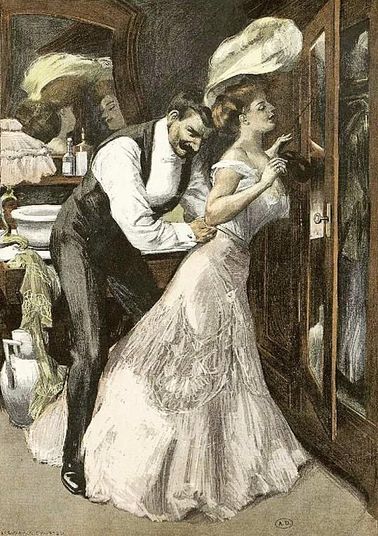 Couple;1904. The excitement generated in unraveling the endless complexities of women's dress during an amorous adventure is evident here. Corsets laced at the back and most dresses and petticoats did up at the back too. Getting down to the nitty-gritty involved a great deal of unlacing, unfastening and unbuttoning. Some men liked the corset and lacy underpinnings to remain on ( the legs of women's underwear were not always joined together).