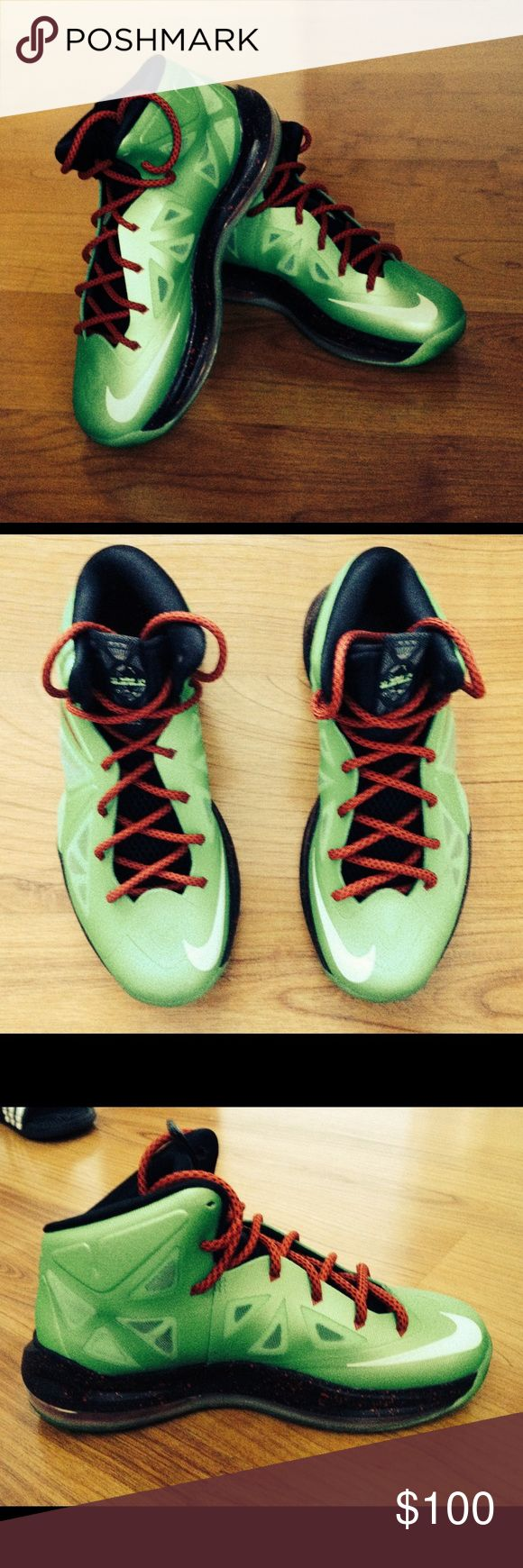 """Lebron X """"Cutting Jade"""" Lebron James basketball shoes, manufactured by Nike. Nike Shoes Sneakers"""