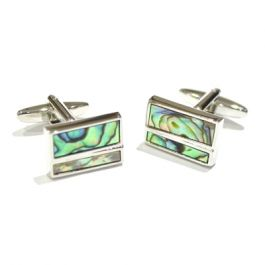 Abalone Shell Horizontal Split Cufflinks - Abalone Shell cufflinks in a smart rectangular cufflink. Features a horizontal plated split in the upper 1/3 of the cufflink.  As every shell is unique, the patterns and colouring on these cufflinks are all different.