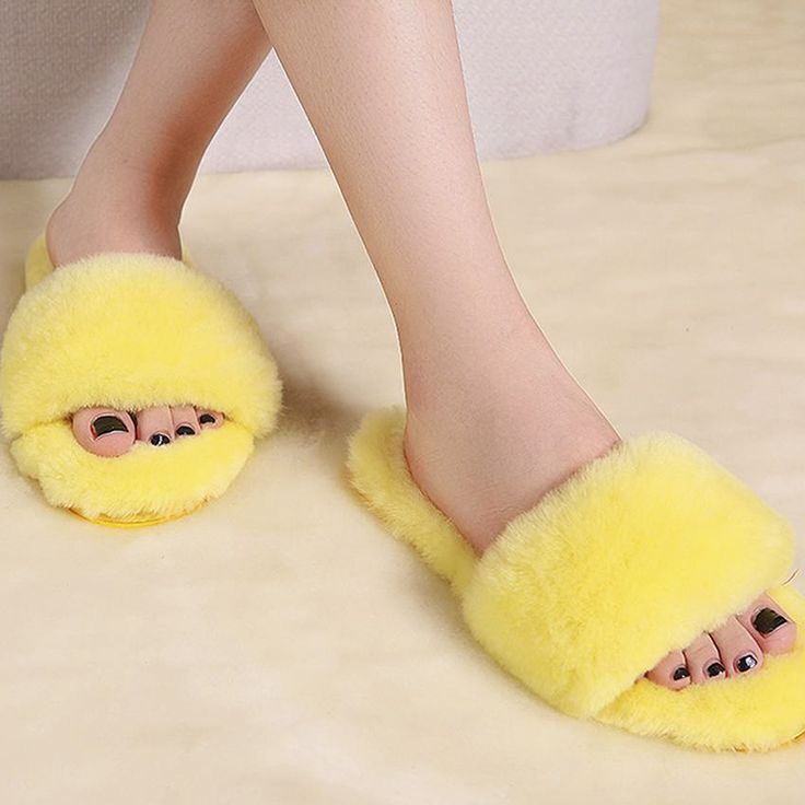 Natural Sheepskin Slippers Fashion Winter Open Toe Women Indoor Slippers Fur Warm High Quality Wool Soft Plush Lady Home Shoe