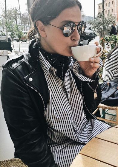 Nadia Kandil in Second Skin leather jacket from ROCKANDBLUE x Caroline Sandström