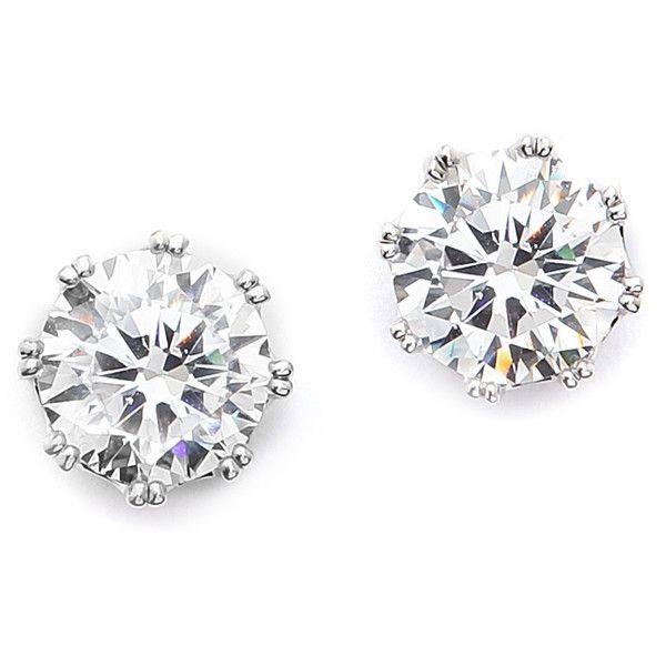 Kenneth Jay Lane Round Cz Stud Earrings - Clear/Silver found on Polyvore