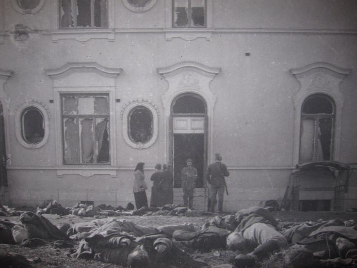 Kaatuneita Näsilinnan päädyssä. Etualalla todennäköisesti Melinin komppanian miehiä ja taustalla punaisia. Tampere 1918.