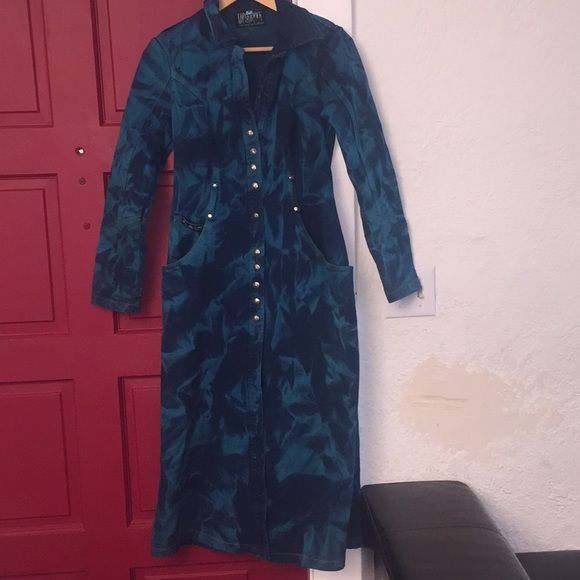 LIP SERVICE Glaciered & Overdyed Stretch Denim long jacket #64-73