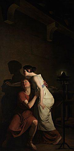 """J. B. Suvée. La fille de Dibutade. """"La fille de Dibutade ne regarde pas son amant qui s'en va. Elle se penche au-dessus de sa tête pour inscrire la ligne que trace son ombre sur le mur. La fille de Dibutade est atteinte de desiderium."""" Le trait qu'elle trace sur le mur est : le """"venir"""" de la perte, le """"sous-venir"""". Pascal Quignard, La nuit sexuelle."""