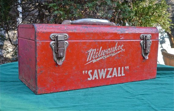 Tool Box Metal Vintage Milwaukee by CasaKarmaDecor on Etsy, $50.00