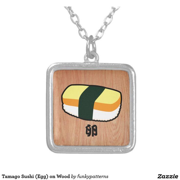 Tamago Sushi (Egg) on Wood Square Pendant Necklace