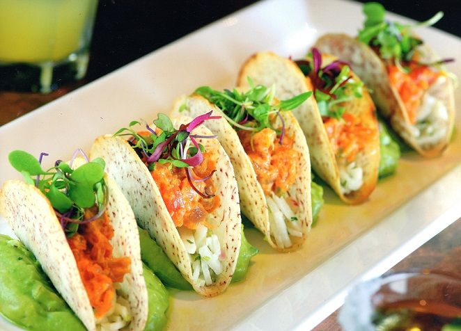 Spicy Tuna Tacos | Yellowfin Tuna Tartare Tacos with an AVOCADO PUREE and Cumin Jicama Slaw in a CRISPY Taco Shell | Healthy & Yummy! | @Lake Austin Spa Resort makes 'em SO FRESH! For MORE RECIPES please SIGN UP for our FREE NEWSLETTER www.NutritionTwins.com