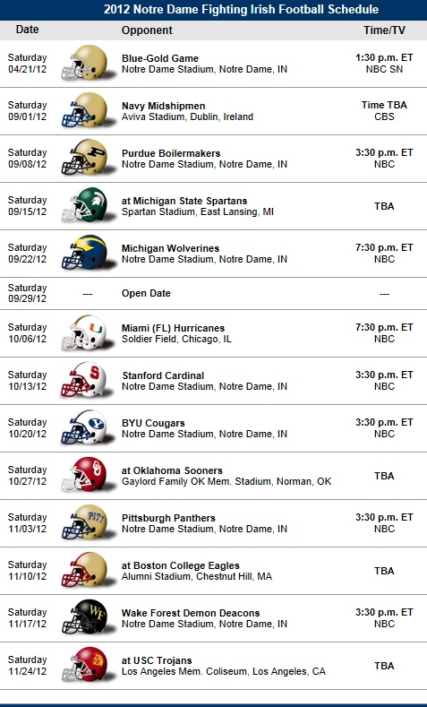 picture relating to Fsu Football Schedule Printable named St Martin Of Excursions M Routine: Notre Dame Soccer