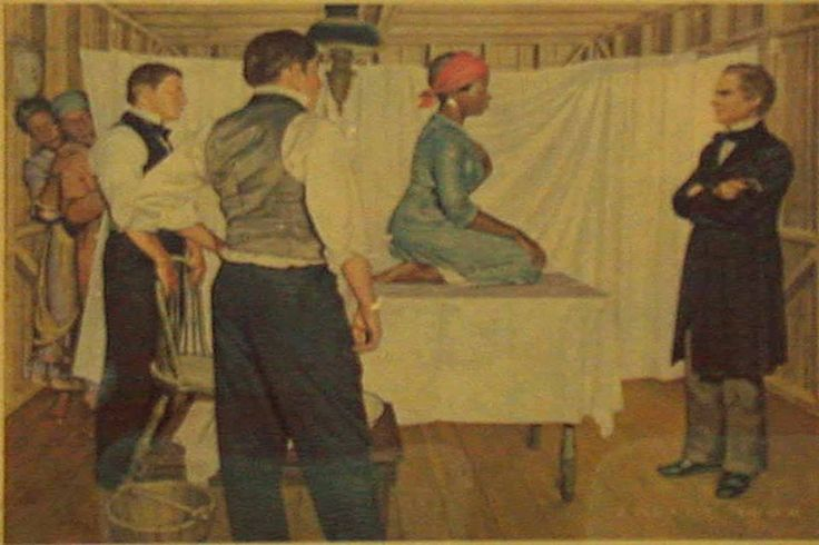"""#BlackHerstory: In the 19th century, the father of modern gynecology, J. Marion Sims, conducted his research experiments on enslaved Black women. Sims performed the invasive and torturous procedures without anesthesia. J. Marion Sims' justification for choosing not to anesthetize his test subjects was that he did not believe Black women felt pain at all. In an 1857 lecture, he stated that it was """"not painful enough to justify the trouble."""""""
