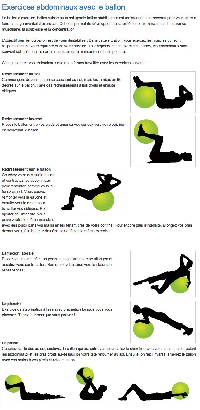 Exercices abdominaux avec le ballon | Abdominals exercises with ball  lire la suite / http://www.sport-nutrition2015.blogspot.com