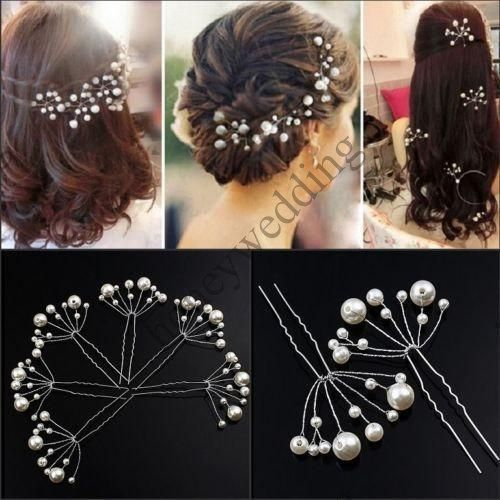 6 Pieces New Bridal Hair Accessories Flowers Beads Bride Hair Pearl Pins Comb Wedding Dresses Accessory Charming Headpieces
