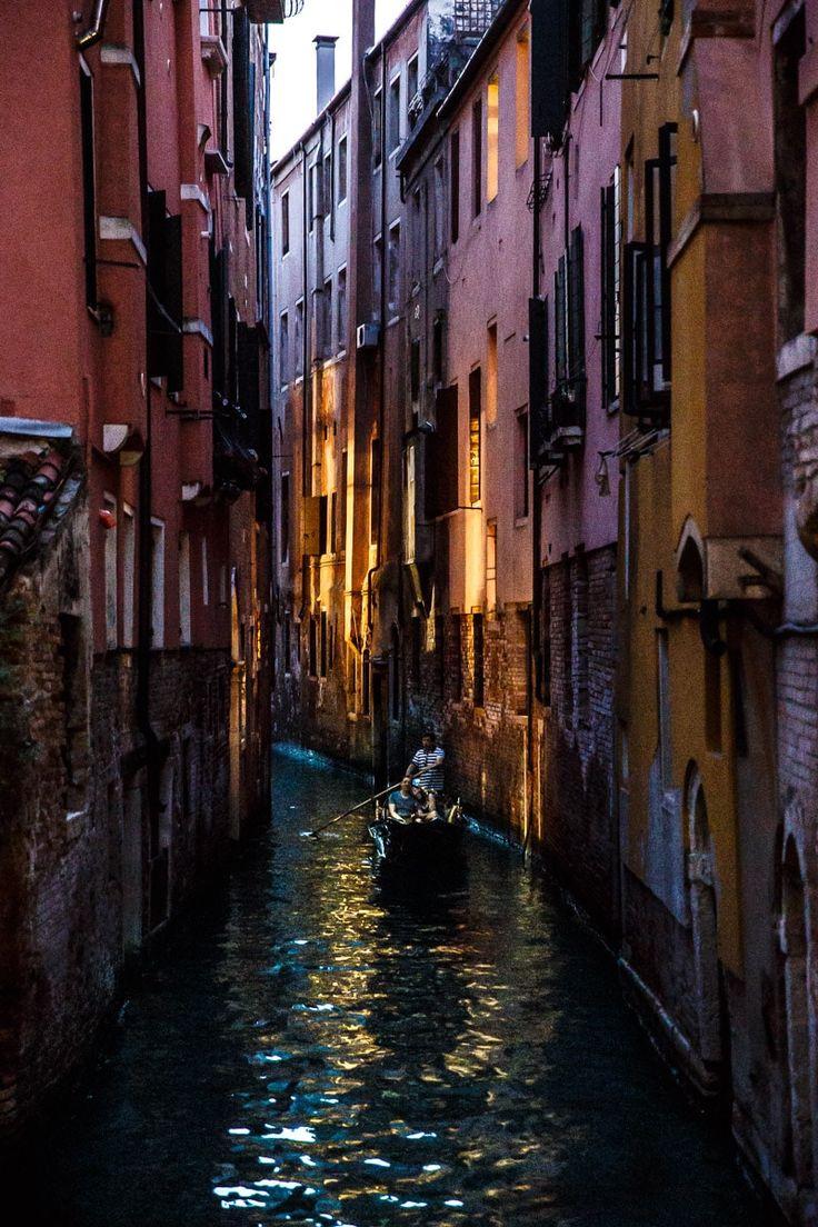 Gondola at night, Venice, Italy