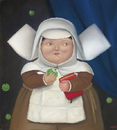Nun eating an apple: Fernando Botero (Colombian b. 1932). I love this fat-cheeked nun.