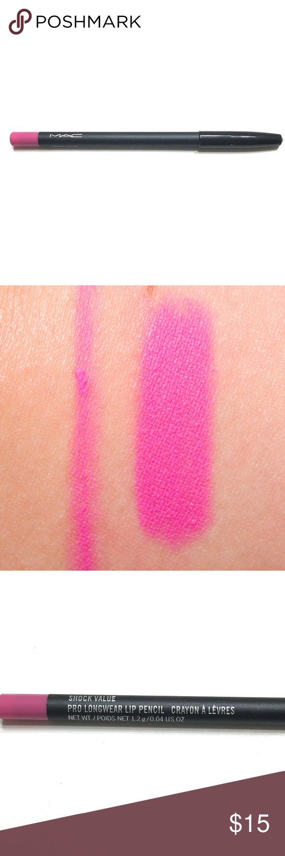 MAC Lip Pencil Brand New || Full Size || MAC Lip Pencil in Shock Value (Bright Pink Cream) || MAC Lip Liner  Lip Pencils have a smooth, creamy texture that is perfect for outlining lips or colouring them in. MAC Makeup Lip Liner #brightpinklips