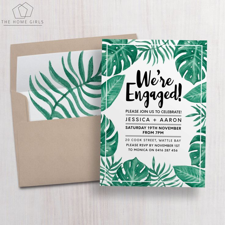 Printable Engagement Invitation / Palm Leaf / by TheHomeGirlsEtsy