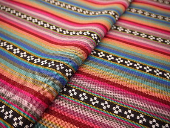 Aztec Fabric, Peruvian Fabric, Woven, Pink Orange Pampa Stripes, 1 Yard on Etsy, €13,53
