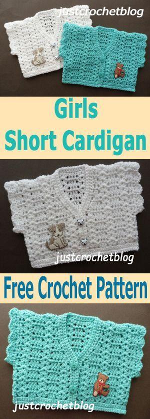 crochet girls short cardigan