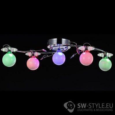 Design Deckenleuchte LEDs Mit Farbwechsel Und Fernbedienung In Chrom 5 Flammig Hauseigene Entwicklung Der Befestigung Von Glasschirmen Ermglicht