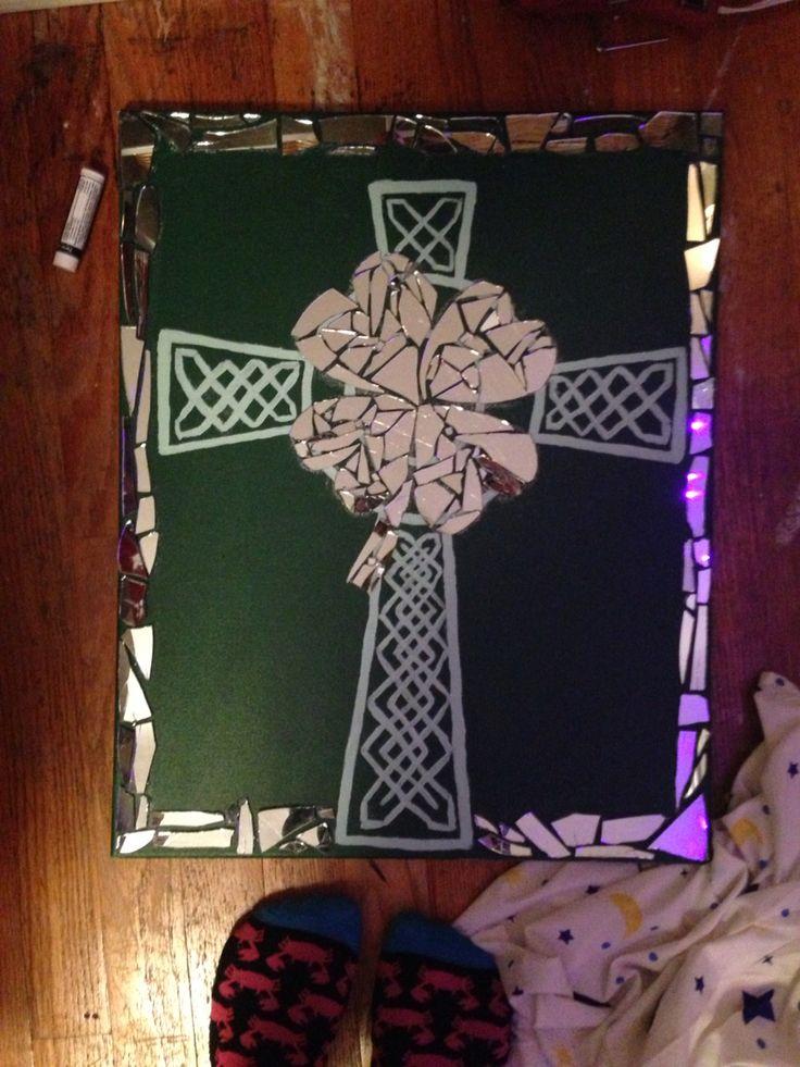 Broken mirror art Shamrock and Celtic cross