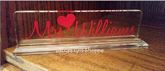 Acrylic Name Plate for desk  Teachers Name by santasgiftshoppe
