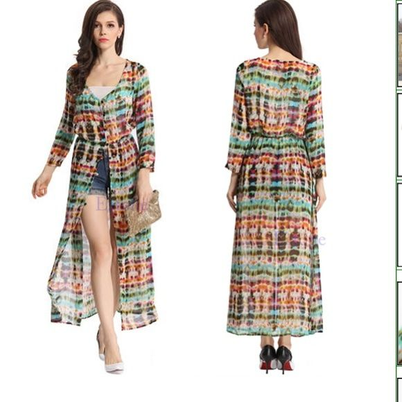 Multi-colored Boho Tie dye Maxi shirt dress Multi-colored Boho Tie dye chiffon Long Maxi shirt dress has been worn once and the other side that attaches to button just needs to be sewn. Can't tell as it's one of the last ones u don't need ;-) Dresses