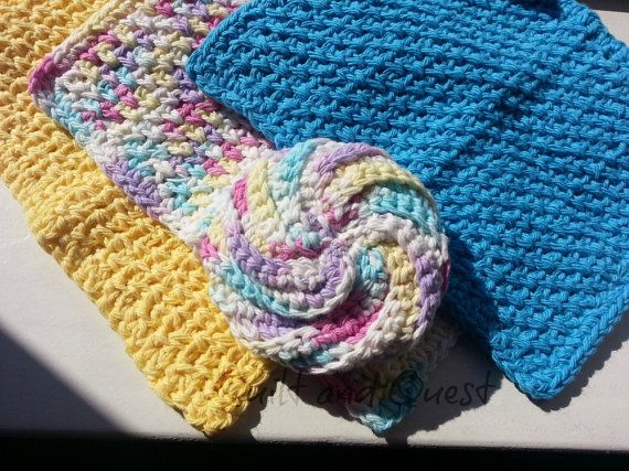 Floral Bouquet Scrubby and Washcloths by Quilt and Quest on Square Market, $10.95