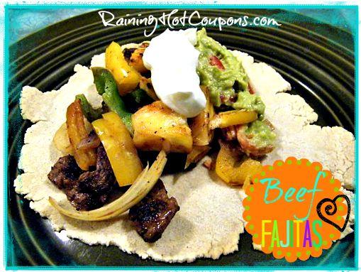 Beef Fajita Recipe and more healthy fajita recipe favorites on MyNaturalFamily.com #fajita #recipe