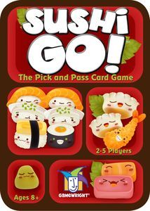 "Sushi Go! (7.2/10) | Age 6+ | 15 min | 2-5 players | Complexity 1.18/5.  ""In the super-fast sushi card game Sushi Go!, you are eating at a sushi restaurant and trying to grab the best combination of sushi dishes as they whiz by. Score points for collecting the most sushi rolls or making a full set of sashimi. Dip your favorite nigiri in wasabi to triple its value! And once you've eaten it all, finish your meal with all the pudding you've got!"""