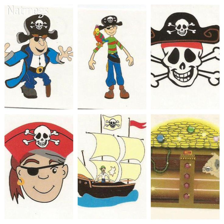 PIRATEE TEMPORARY TATTOOS~SET SIX FOR PARTIES