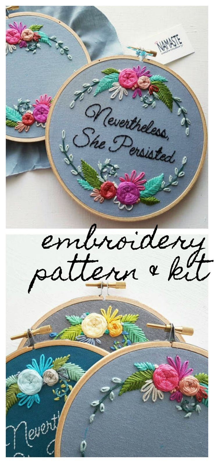 This is a beautiful, feminist embroidery pattern that comes sold as an  embroidery craft kit. Affiliate link to where you can buy.