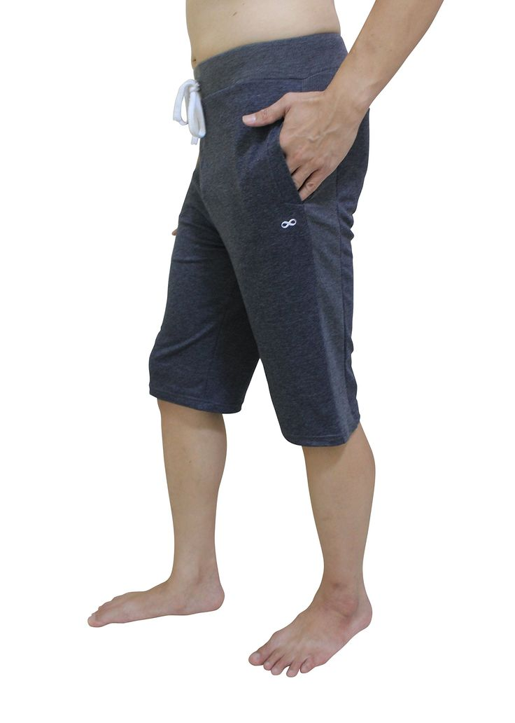 """YogaAddict Men Yoga Short Pant, Ideal for Any Yoga Style and Pilates, Premium Quality, Dark Grey - Size M. Supremely comfortable, stretching with your every move yet stylist fit. Perfect for Yoga, Pilates, tennis, outdoor exercise, martial arts, travel and casual wear. 2 outside pockets with drawstring/elastic waist. Size Reference: S:29-31"""" waist, M:32-33"""" waist, L: 34-35"""" waist, XL:36-38"""" waist, XXL:39-40"""" waist. Made with the finest fabric - Body: 94% Cotton, 6% Spandex."""