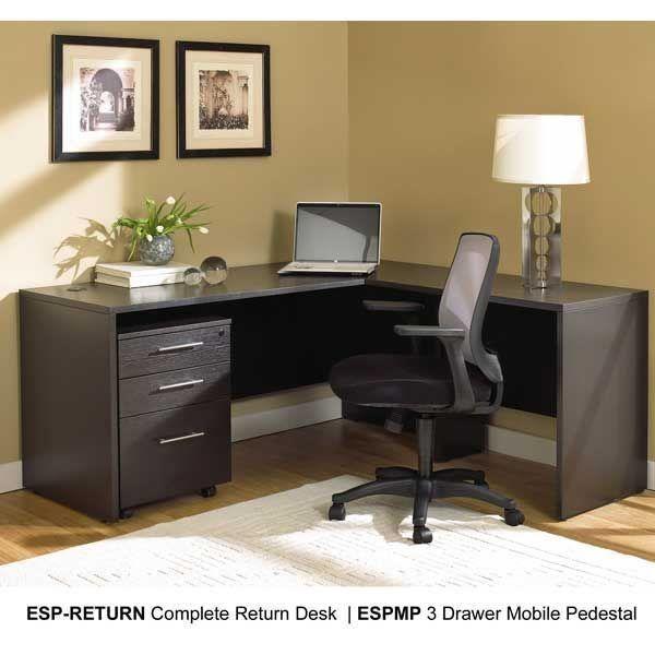 Espresso Return Desk L Shaped Corner Desk Home Office Design