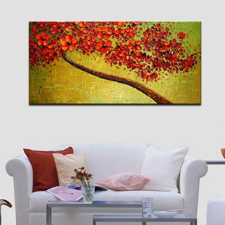 Cool Modern Hand-painted Abstract Pictures Red Cherry Blossom Tree and Flowers Palette Knife Oil Paintings on Canvas 3D Wall Decor