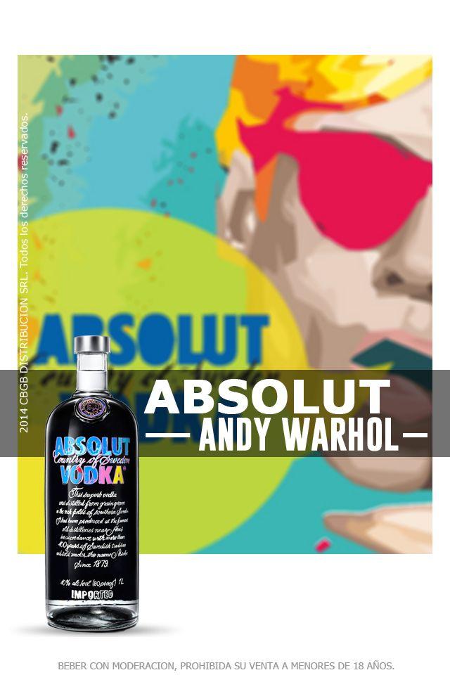 Absolut se enorgullece en presentar su icónica botella Andy Warhol de edición limitada con gran diseño pop. En 1986, Andy Warhol fue el primer artista en crear una obra original para Absolut. Su ultima obra es de color negro con azul y con detalles rosas y amarillos y cuenta con 4 millones de botellas. Su pureza tiene un sabor único y rico, de gran cuerpo y muy complejo, pero suave y maduro, con el carácter distintivo del grano de trigo, seguido de un toque a frutas secas.
