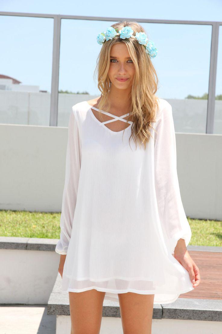 Billowing Dress - White