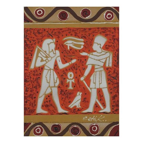 NOVICA Earth Toned Egyptian Themed Painting from Ghana ($125) ❤ liked on Polyvore featuring home, home decor, wall art, earthtone, expressionist paintings, paintings, novica home decor, novica, inspirational wall art and egyptian home decor