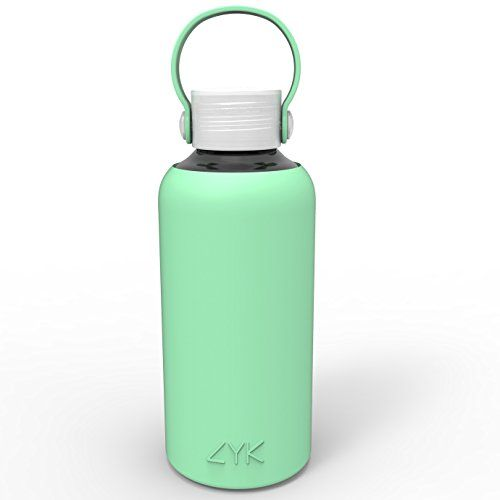 Water Bottle, ZYK Sports Water Bottle Glass BPA Free, Eco-friendly 0.6L, 20 ounce Made for Running, Gym, Yoga, Outdoors and Camping