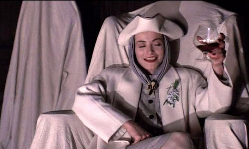 """The gorgeous wardrobe of Lady Sylvia Marsh as played by Amanda Donohoe in 1988 movie """"Lair of the White Worm"""". Fashions by designer Michael Jeffrey."""