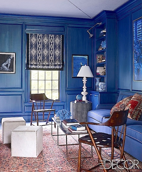 gorgeous blue.  Silver Family Library - Thom Filicia Connecticut Home