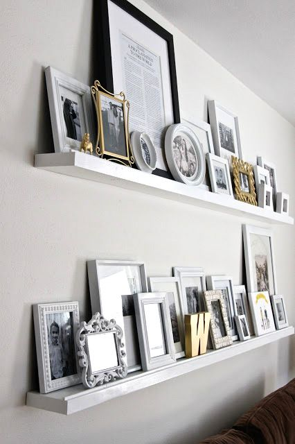 Make simple floating shelves for your home The pavement at the front prevents the frames from falling Arrange photo frames and other elements to decorate