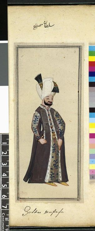 The British Museum 1620 The Habits of the Grand Signor's Court. Folio 5b from an album of paintings showing Turkish sultans and court officials. Mustafa I. Brown kaftan with ermine lining. Silver robe ...