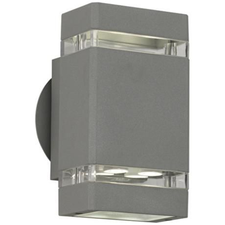 """Matte Silver Gray 8"""" High LED Up/Down Outdoor Wall Light"""
