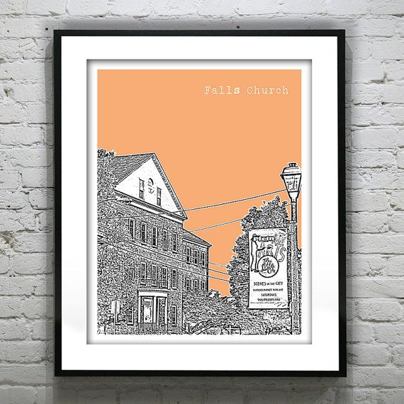 Falls Church Virginia Poster Art Skyline VA
