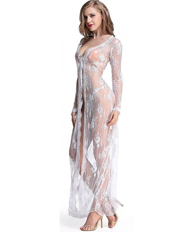 1526134becca6 Lingerie Dress Long Sleeve Underwear Lace Long Gown See-through Sleepwear  Robe - White - CH186GWZUKY,Women's Clothing, Lingerie, Sleep & Lounge, ...