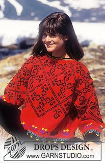 DROPS Sweater in Alaska with squares ~ DROPS Design